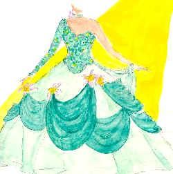 Skizze asymetrisches Abendkleid mit großem Kuppelrock.