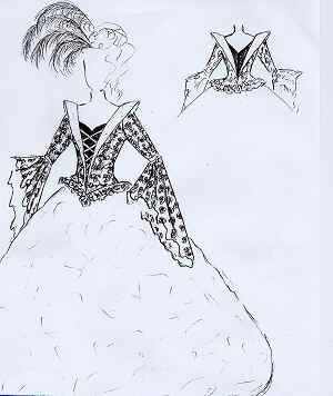 Skizze schwarz/graues Abendkleid.